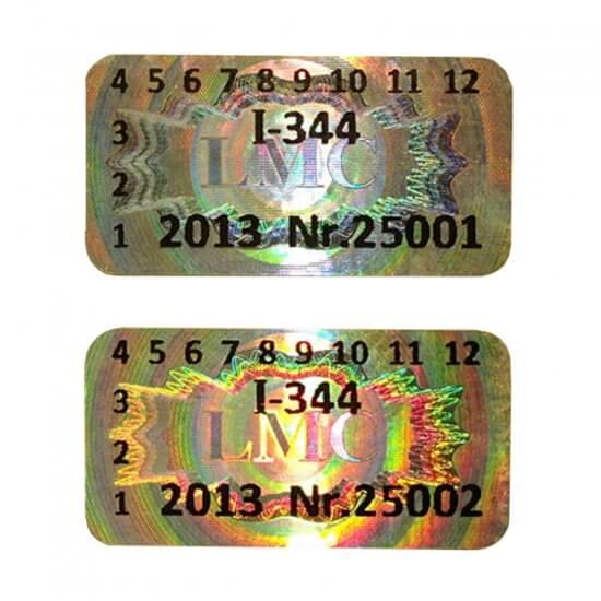 Varnostni hologram s številčenjem
